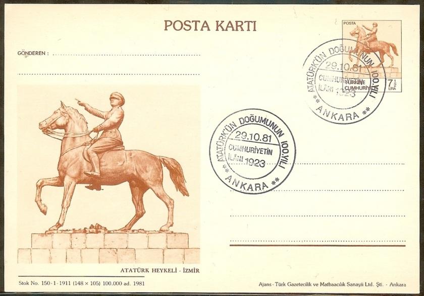 Atatürk heykelleri manzaralı antiyeler - 29 Ekim 1981