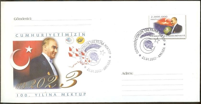Cumhuriyetimizin 100. yılına mektup antiye zarf - 23 Nisan 2002