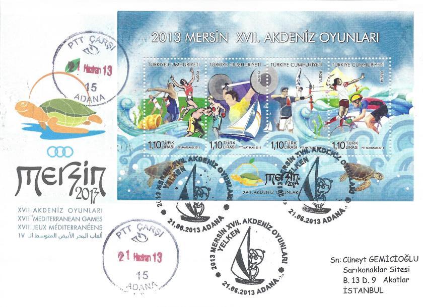 Akdeniz Oyunları Yelken damgası Adana