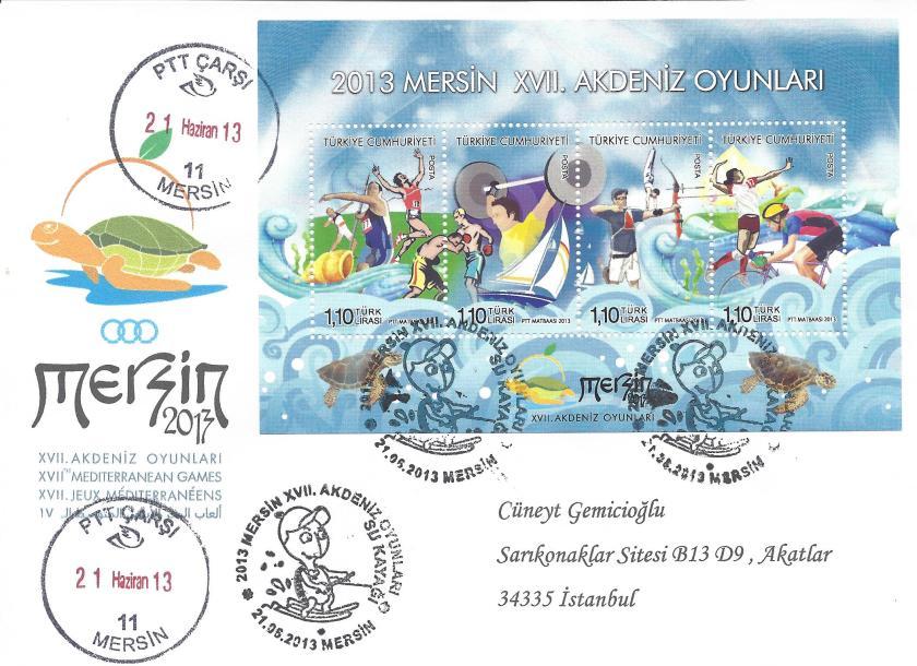 Akdeniz Oyunları Su Kayağı damgası Mersin