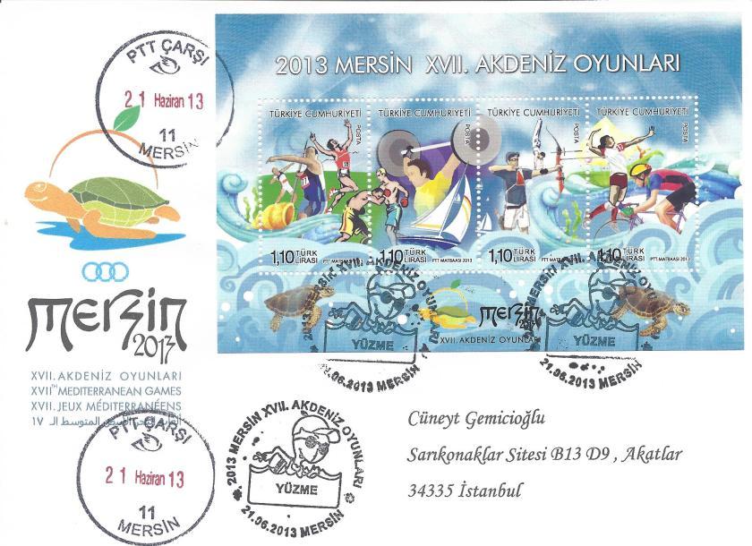 Akdeniz Oyunları Yüzme damgası Mersin