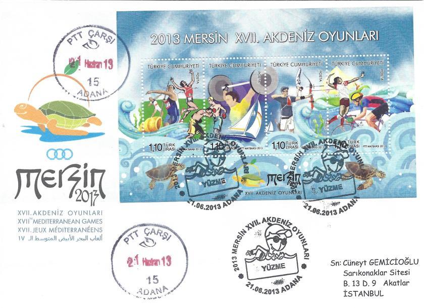 Akdeniz Oyunları Yüzme damgası Adana
