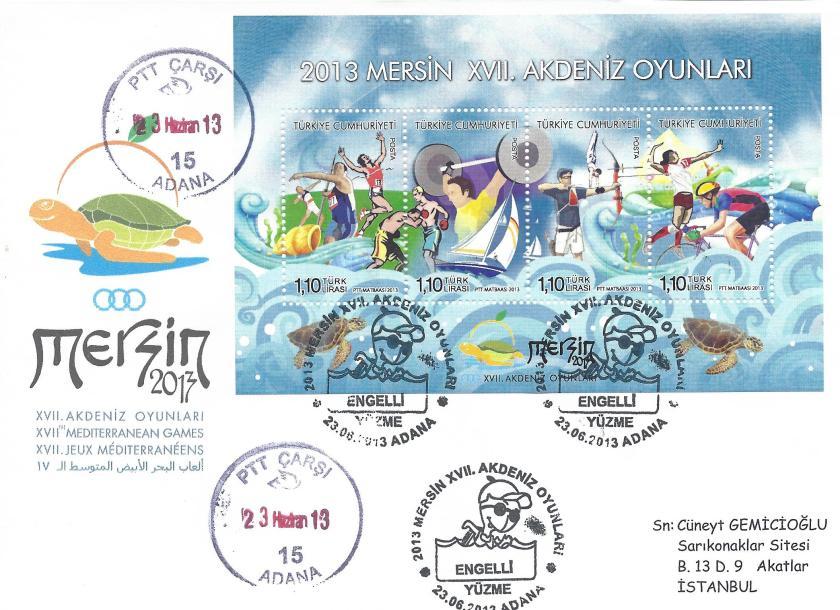 Akdeniz Oyunları Engelli Yüzme damgası Adana