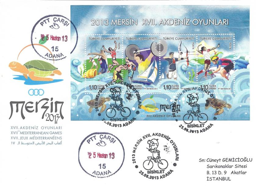 Akdeniz Oyunları Bisiklet damgası Adana