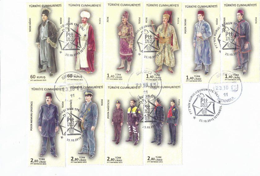 Tam seri PTT 175. yıl karne pulları ilk gün zarfı