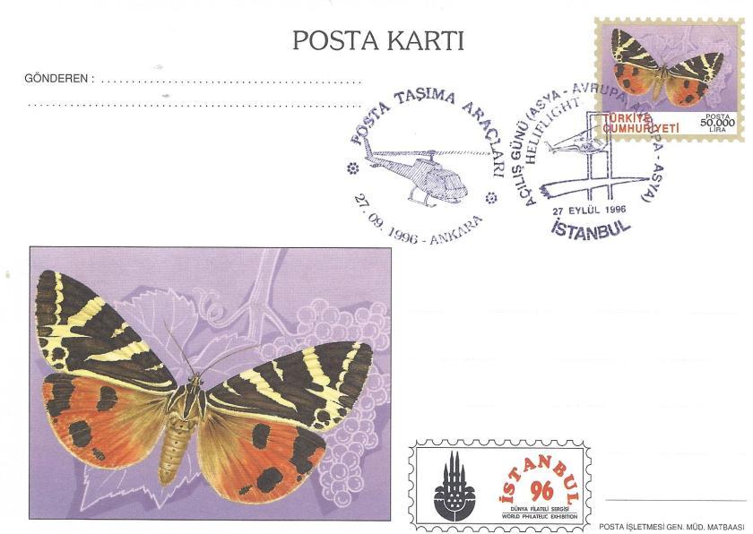 İstanbul '96 sergisi kelebek temalı antiye kart