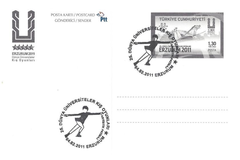 2011 Erzurum oyunları artistik patinaj damgası