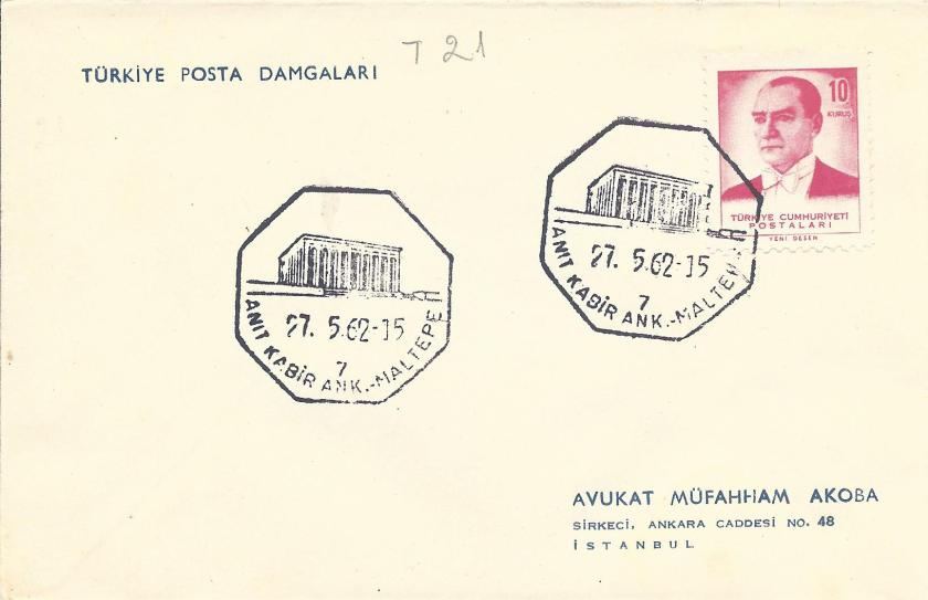 Anıtkabir - Maltepe tursitik damga 1962