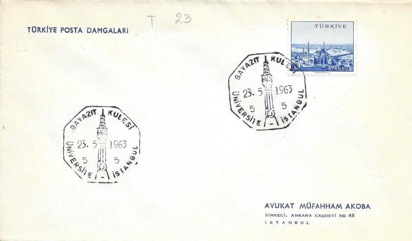 Beyazıt kulesi - İstanbul turistik damga - 1963