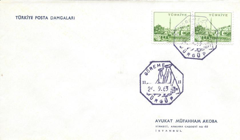 Göreme - Ürgüp turistik damga - 1963