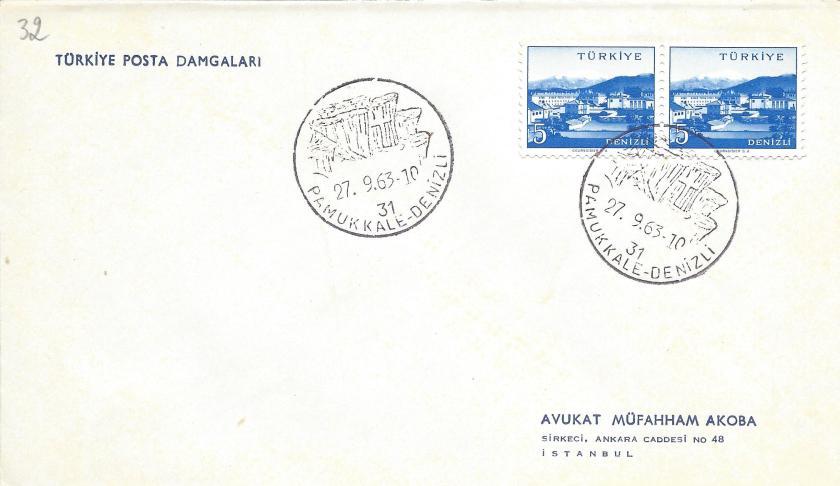 Pamukkale - Denizli turistik damga - 1963