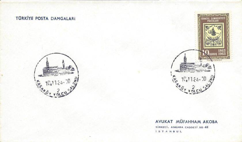 Karaköy yolcu salonu turistik damga - 1964