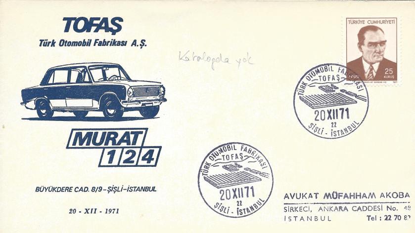 Türk otomobil fabrikası TOFAŞ - Şişli turistik damga - 1971