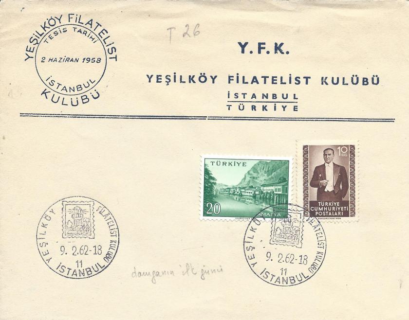Yeşilköy filatelistler kulübü resimli damga - 1962