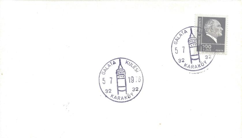 Galata kulesi turistik damga - 1966