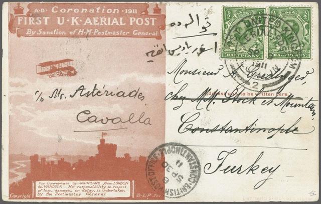 1911 İngiltere hava postası ile taşıınmış kart