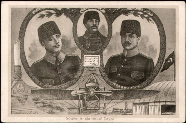 Osmanlı döneminde hayatlarını kaybeden pilotlar anısına basılan hatıra kartpostalı
