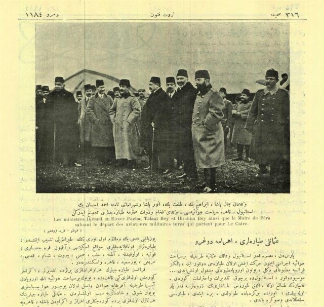 Yeşilköy uçuş okulunda İstanbul-Kahire uçuşunun başlaması öncesi İttihat Terakki liderleri