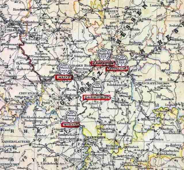 1912 Ren hava postaları haritası